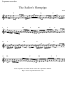 The Sailor's Hornpipe Soprano Recorder Sheet Music