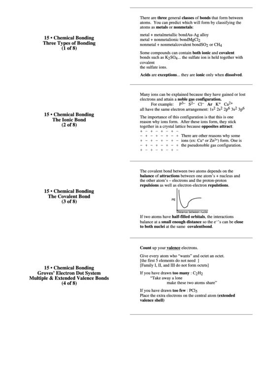 Three Types Of Bonding Chemical Bonding Sheet printable pdf download