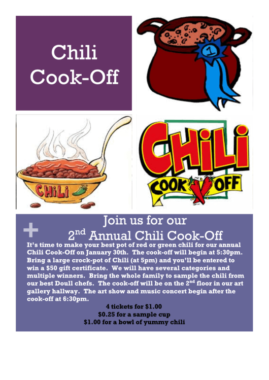 Chili Cook Off Flyer Template Printable pdf