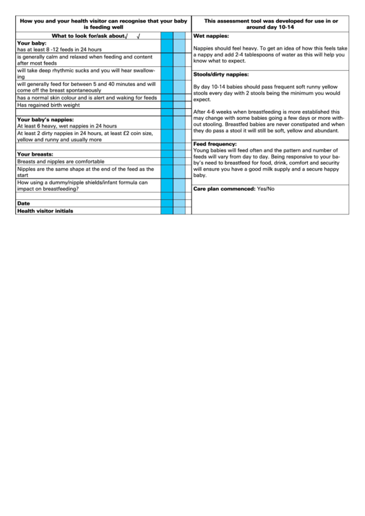 Breastfeeding Assessment Template For Health Visitors