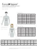 Fossa Apparel Standard Clothing Size Chart