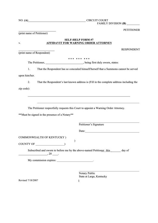 Fillable V Affidavit For Warning Order Attorney Printable