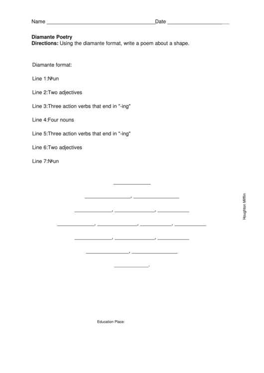 top diamante poem templates free to download in pdf format