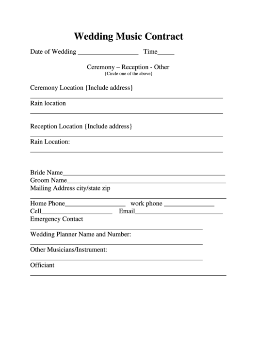 wedding music contract printable pdf download