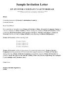 Sample Invitation Letter For Visa Template
