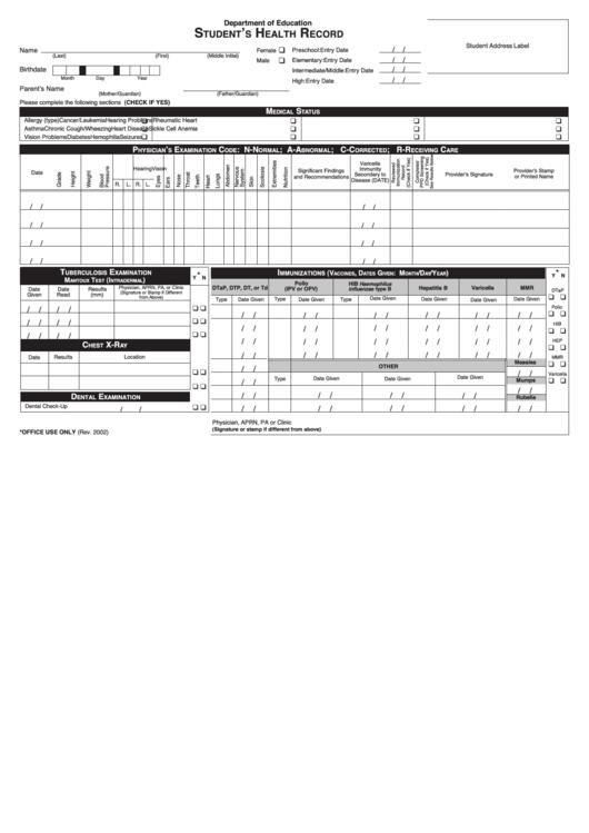 student health record printable pdf download. Black Bedroom Furniture Sets. Home Design Ideas