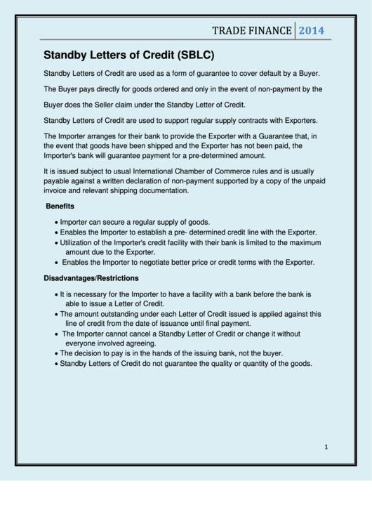 standby letter of credit sample wording printable pdf download