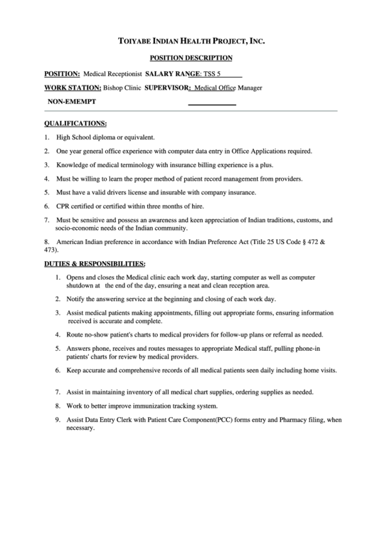 Medical Receptionist Job Description Printable Pdf Download