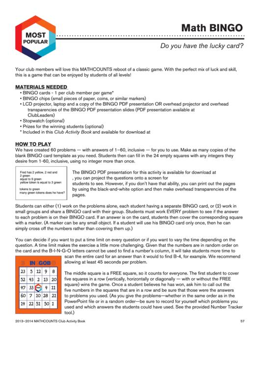 Math Bingo Template Printable Pdf Download