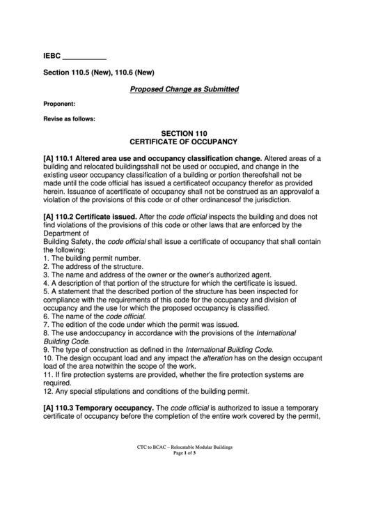 Certificate Of Occupancy printable pdf download