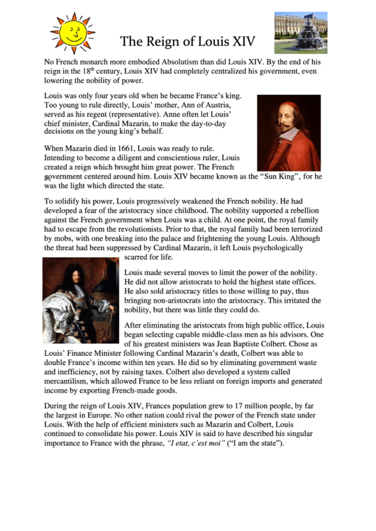 was louis xiv a good or bad monarch essay Peter the great essay examples the life of peter the great, an absolute monarch of russia an introduction to the comparison of louis xiv and peter the great.