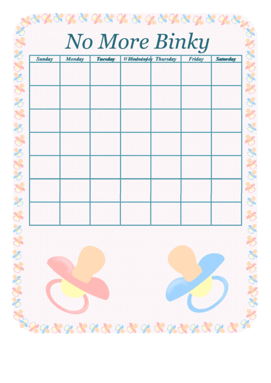 No More Binky Behavior Chart For Baby