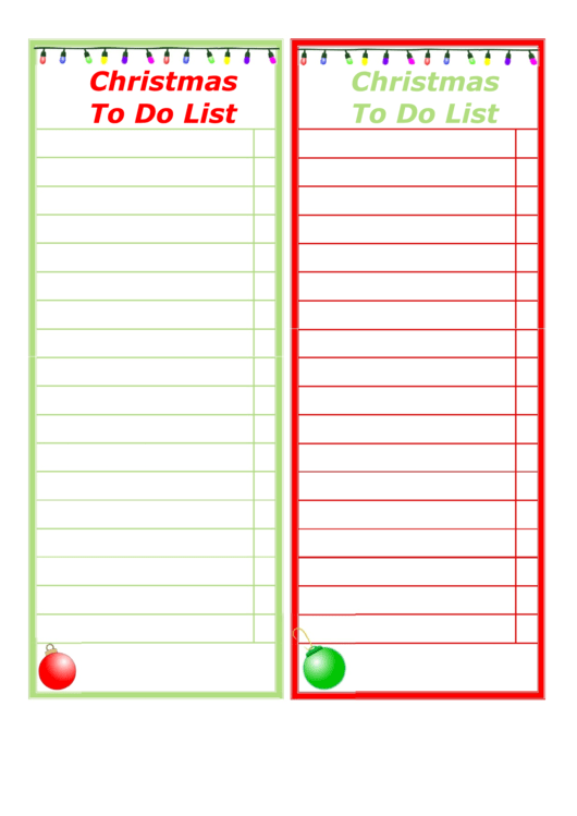 Christmas To Do List Template