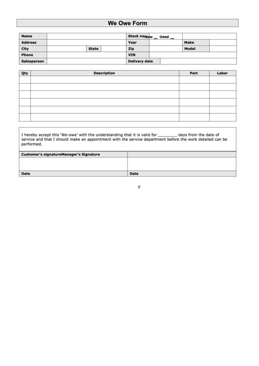 we owe form  blank  printable pdf download