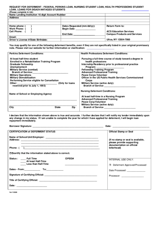 Request For Deferment Form - Federal Perkins Loan, Nursing