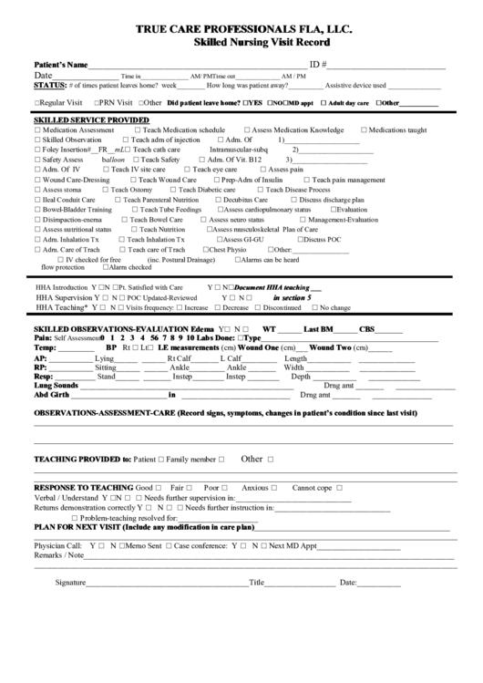 skilled nursing visit record template printable pdf download