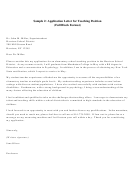 Sample Application Letter For Teaching Position