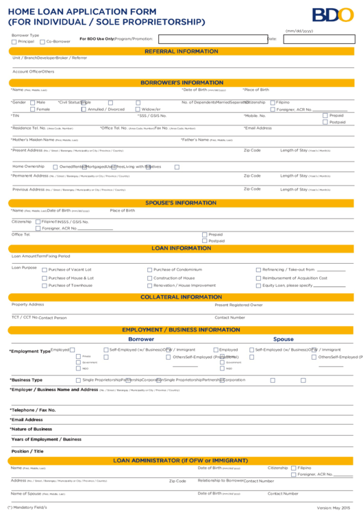 Home Loan Application Form (for Individual / Sole Proprietorship)