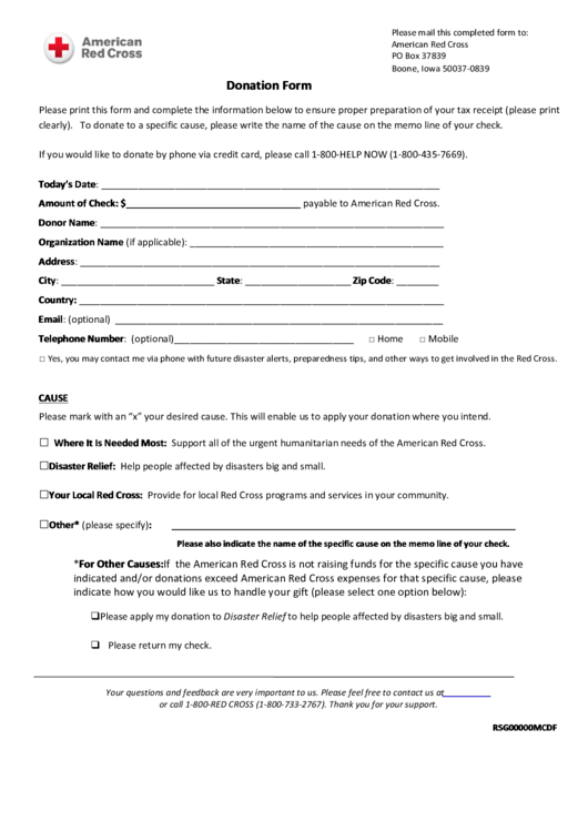 american red cross donation form printable pdf download