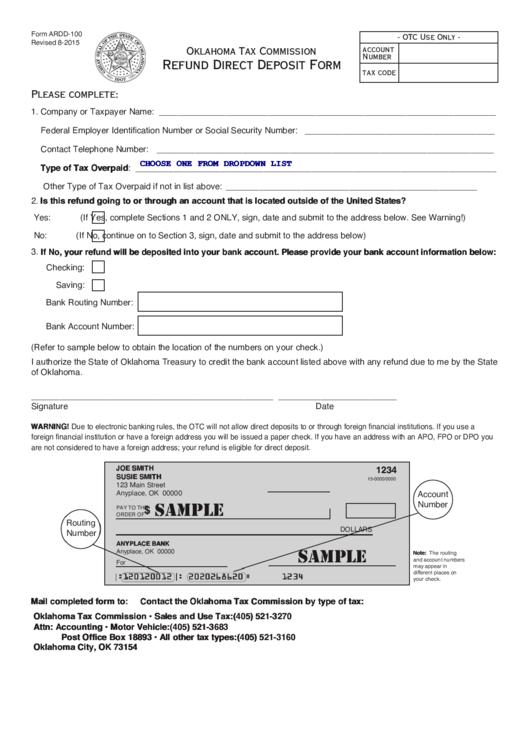 Form Ardd-100 - Refund Direct Deposit Form