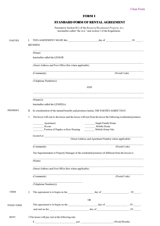 Fillable Standard Form Of Rental Agreement Fillable Printable Pdf