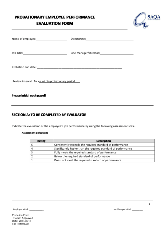 Probationary Employee Performance Evaluation Form