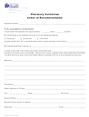 Department Of Health Pharmacy Technician Letter Of Recommendation
