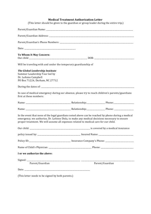 Medical Treatment Authorization Letter