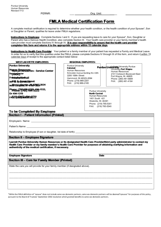 Fillable Purdue University Fmla Medical Certification Form printable ...