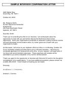 Sample Interview Confirmation Letter Template