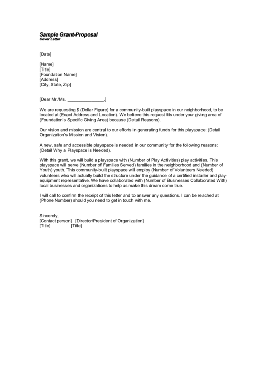 Sample Grant Proposal Cover Letter Template Printable Pdf Download