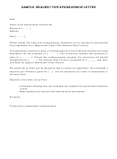 Sample Request For Sponsorship Letter Template