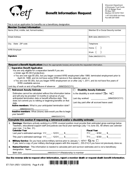 Benefit Information Request