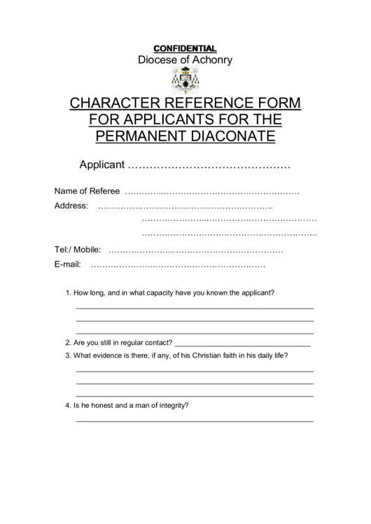 Character Reference Form For Applicants For The Permanent Diaconate