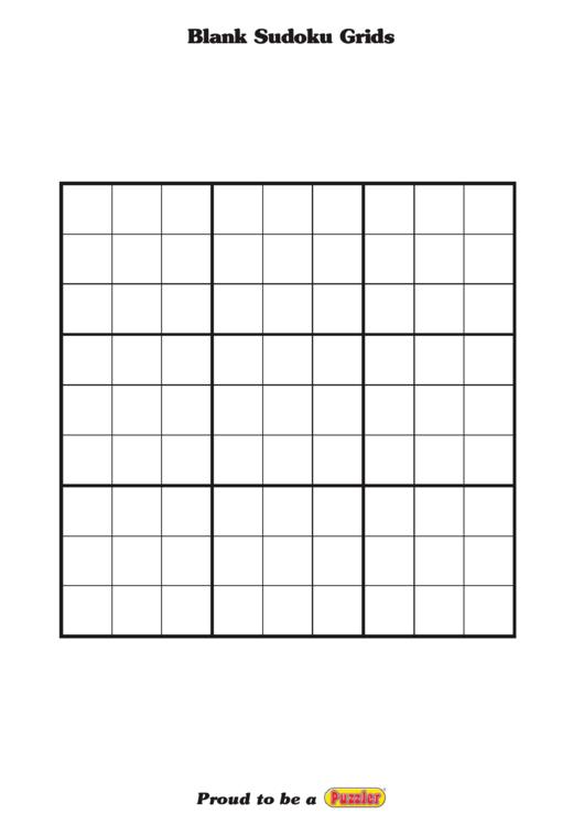 Blank Sudoku Grids Printable pdf