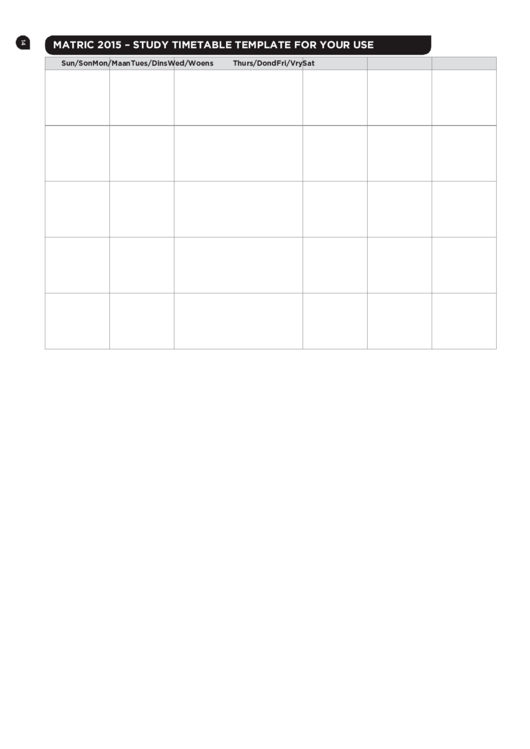 Study Timetable Template