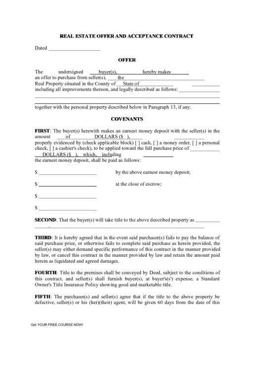 Real Estate Offer And Acceptance Contract Printable pdf