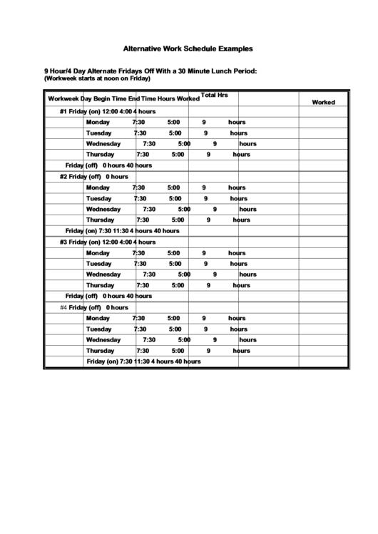 Alternative Work Schedule Examples
