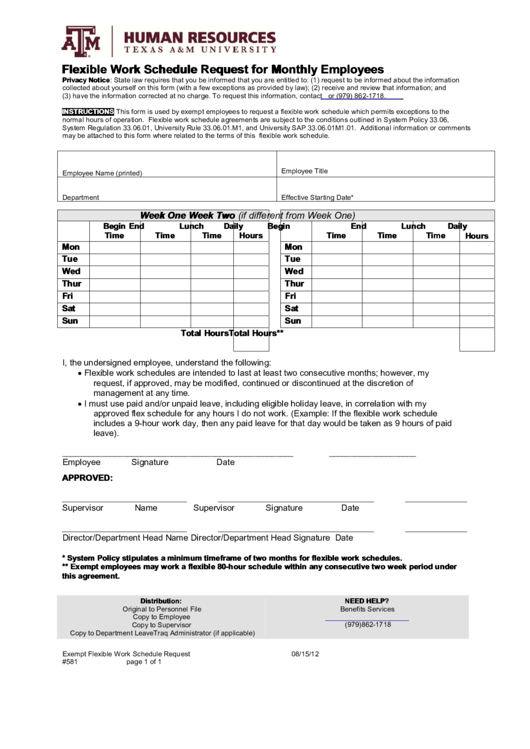 Flexible Work Schedule Request Form For Monthly Employees
