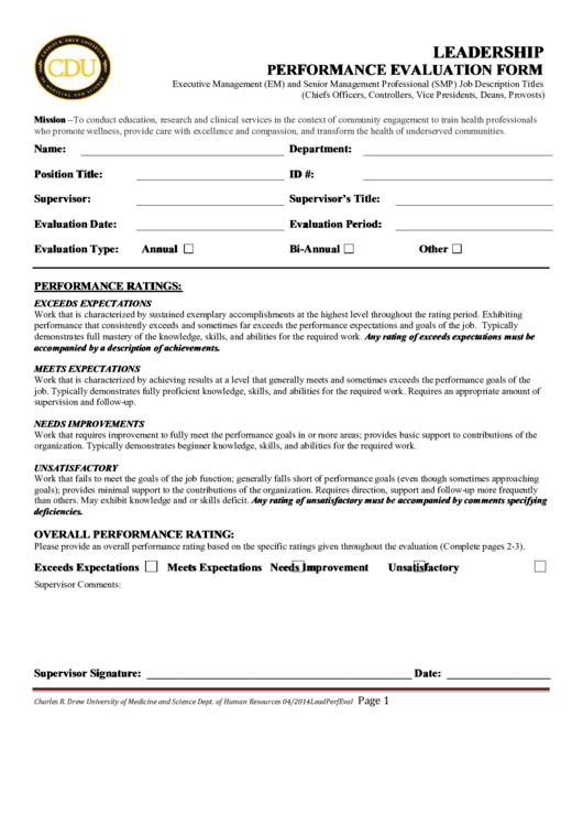 leadership evaluation form templates - leadership performance evaluation form printable pdf download
