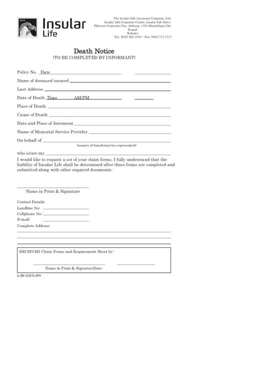 Death Notice Template (Sample) Printable pdf