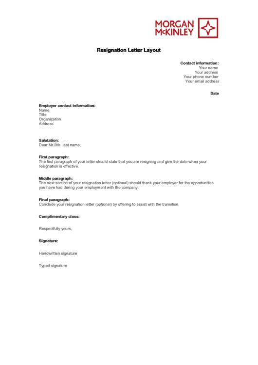 Resignation Letter Layout Template Printable pdf