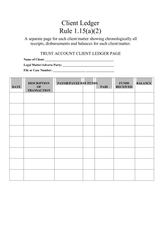 trust account client ledger page printable pdf download