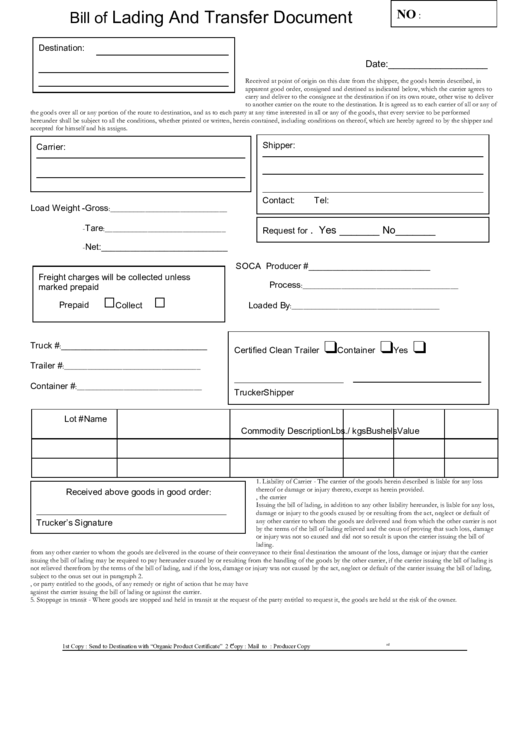 Bill Of Lading And Transfer Document Printable pdf
