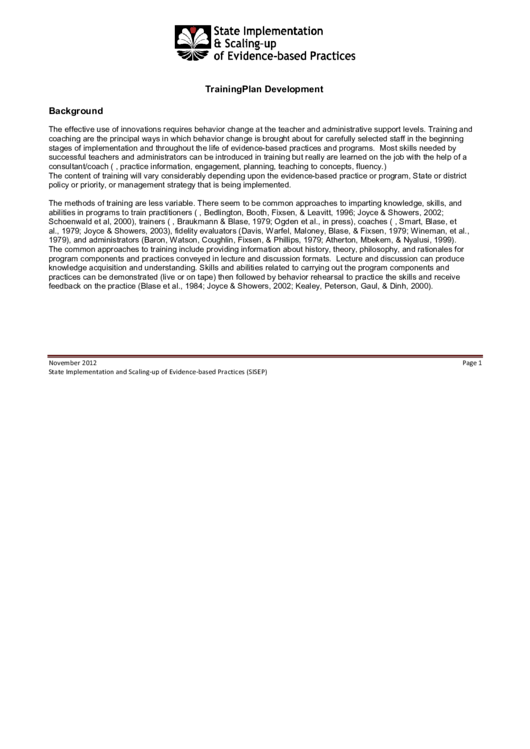 Training Plan Template Printable pdf