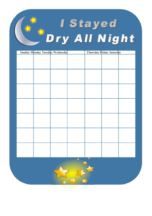 Stayed Dry All Night Behavior Chart Printable pdf
