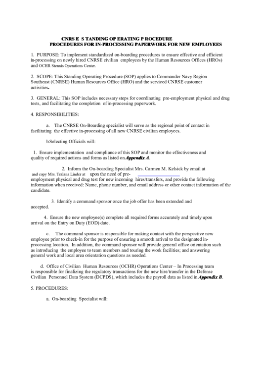 Procedures For In-Processing Paperwork For New Employees Printable pdf
