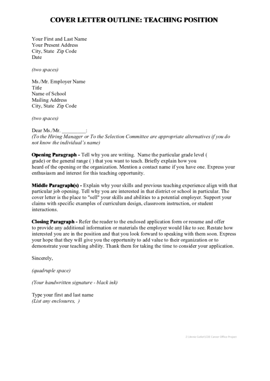 Teaching Cover Letter Printable pdf