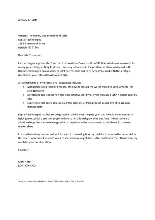 Sales Director Cover Letter Printable pdf