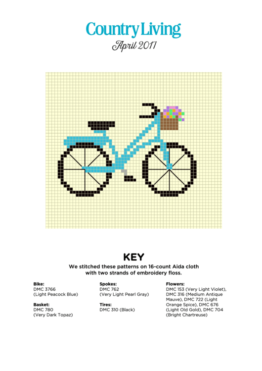 Bike Cross Stitch Pattern Printable Pdf Download
